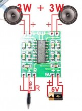 Amplificador mini digital stereo 2 X 5W Class D