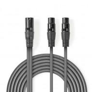 Cabo de Áudio XLR macho de 3 pinos - 2x XLR de 3 pinos fêmea | 1,5 m | Cinza