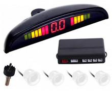 Conjunto 4 Sensores Estacionamento + LCD + Sonoro - 22mm Branco