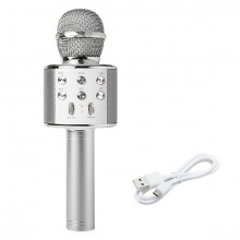 Microfone s/ Fios p/ Karaoke c/ Coluna / Bluetooth / MP3 (Prateado)