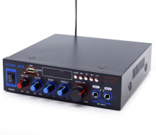 Amplificador HI-FI USB / SD / Bluetooth e rádio 2 microfones Equalizador 2x200W
