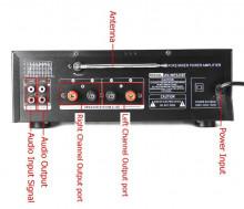 Amplificador HI-FI USB / SD / Bluetooth e rádio 4 microfones Equalizador 2x300W
