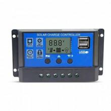 Controlador de Carga PWM p/ Painel Solar 10A /12 ~ 24V + 2x USB