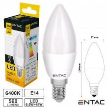 Lâmpada LED E14 Vela 6.5W 230V 6400K 560lm ENTAC