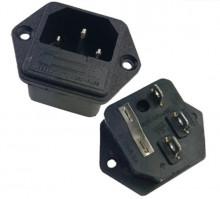 Tomada de painel C14 10A 250V c/ Porta-Fusível