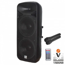 "Coluna Amplificada 2x15"" USB/FM/BT/SD/BAT MIC LEDS VSOUND"