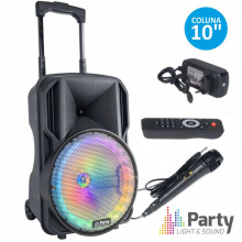 """Coluna Amplificada Portátil 10"""" c/ Bateria USB/SD/FM e Bluetooth - PARTY"""