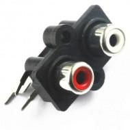 Conector Stereo fêmea RCA - preto