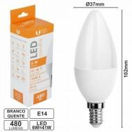 Lâmpada E14 6W=41W 230V LED Vela Branco Quente 480LM