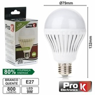 Lâmpada LED E27 9W=60W Globo Branco Quente 800LM