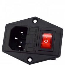 Tomada de painel com Interruptor e Fusível 10A 250V