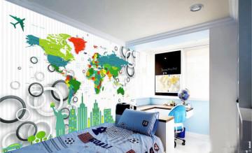 Fototapet Personalizat Harta Lumii si Cercuri