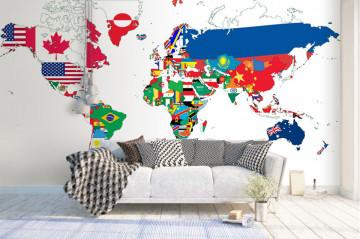Fototapet Personalizat Harta Lumii cu Drapel