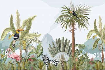 Fototapet Jungle Animals and Flowers