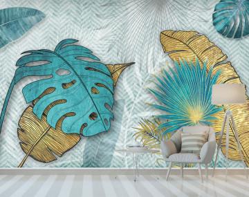 Fototapet Personalizat Frunze Albastre si Galbene