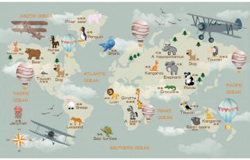 Fototapet Personalizat Harta Lumii cu Animalute