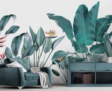 Fototapet Personalizat Plante si Pasari Tropicale Desenate