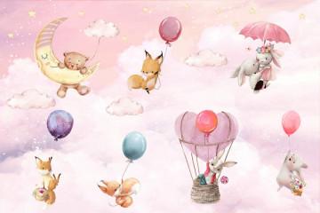 Fototapet Personalizat Baloane si Animalute