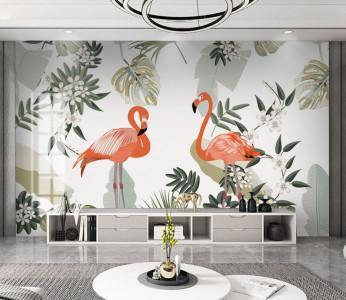 Fototapet Personalizat Flamingo in Frunze Verzi