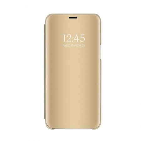Husa Book KickStand Mirror Effect, Clear View, Apple iPhone 11 / X, Design elegant, Functie de stand, Gold