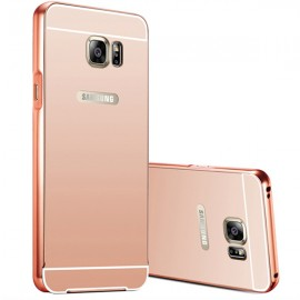 Husa Mirror Case Luxury Metal Frame pentru Samsung Galaxy S6 EDGE SM-G925 de LUX - Rose