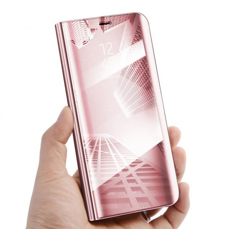 Husa Flip Stand Mirror,Clear View Light, Samsung Galaxy A8 Plus 2018, Rose