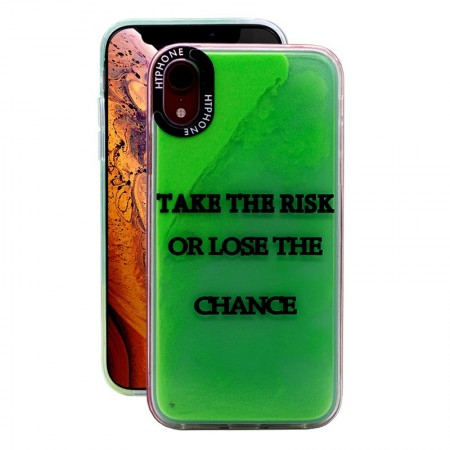Huse Neon Apple iPhone X/XS, Glow In The Dark, Take the Risk