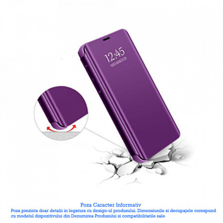Husa Protectie Toc Flip Cover Clear View Mirror Huawei Y6 2019 Mov