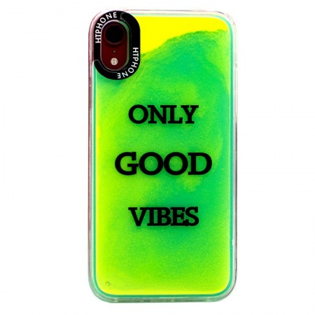 Huse Neon Apple iPhone X/XS, Glow In The Dark Good Vibes