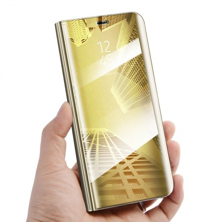 Husa Flip Stand Mirror,Clear View Light, Samsung Galaxy A8 Plus 2018, Gold