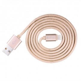 Cablu de date Lightning MFI Rose Gold (licenta Apple, 1m, impletitura textila)