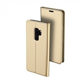 Husa Leather Flip DD, Samsung Galaxy S9 Plus, Gold, Sensitive Touch
