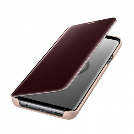 Husa Originala Smart Samsung Galaxy S9 Plus, Flip, Clear View, Functie Stand Gold