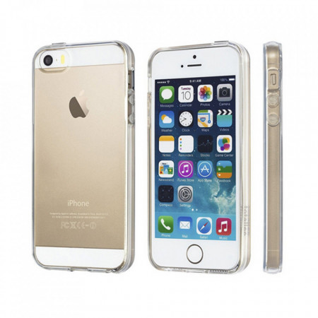 Husa HTPhone Ultra Slim, Silicon Transparent, Protectie Sporita, iPhone 5/5S/SE