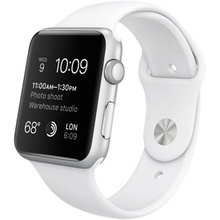 Apple Smartwatch Watch 38 mm carcasa din aluminu argintiu Curea  Sport, White