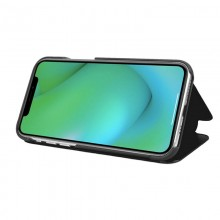Husa Book KickStand Mirror Effect, Clear View, Apple iPhone 11 / X, Design elegant, Functie de stand, Negru