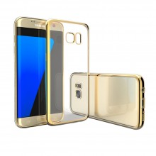 Husa Clear View pentru Samsung Galaxy S7 Edge Electroplating, Gold