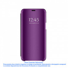 Husa Samsung Galaxy J6 2018 Mov Clear View Flip Standing Cover Tip Carte Book Oglinda Violet Purple