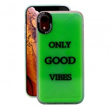 Huse Neon Apple iPhone X/XS, Glow In The Dark, Only Good Vibes