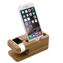 Bamboo Desktop Dock Pentru Apple Watch & iPhone