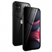 Husa 360 de grade Sticla FATA si SPATE Temperata Securizata PRIVACY Full Protection prindere Magnetica, pe magneti, Bumper din Aluminiu, Apple iPhone 11 Pro MAX black