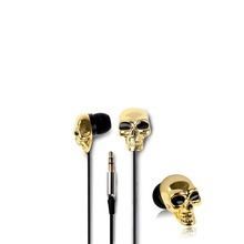 Casti Handsfree stereo 3.5 mm Procell Golden Skull In-Ear Negru