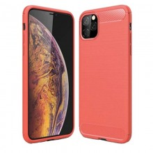Husa de telefon de tip Carbon, Premium Protect, Armor, Apple iPhone 11 Pro Max / XI Pro Max, Finisaj metalic, Red