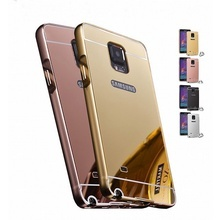 Husa Mirror Luxury Metal Frame pentru Samsung Galaxy Note 4 N9100 - Gold
