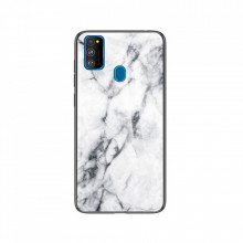 Husa Samsung Galaxy M21 Marble, Tempered Glass PC + TPU – White