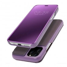 Husa Book KickStand Mirror Effect, Clear View, Apple iPhone 11 / X, Design elegant, Functie de stand, Violet