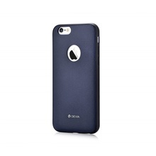 Husa iPhone 6 Plus / 6S Plus Original Leather Devia Royal Blue (piele naturala cu margini flexibile)
