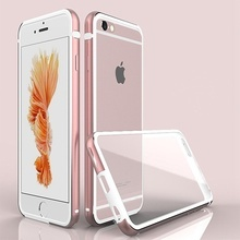 Husa Business Deluxe PC transparent + rama din metal  pentru iPhone 6 / iPhone 6S  - Rose