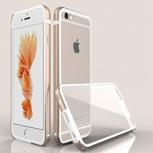 Husa Business Deluxe PC transparent + rama din metal  pentru iPhone 6 / iPhone 6S  - Gold