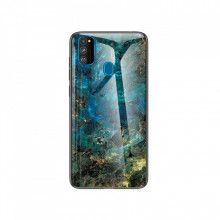 Husa Samsung Galaxy M21 Marble Emerald, Tempered Glass PC + TPU – Blue